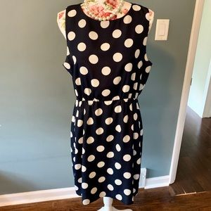 J.Crew blue and white polka dot dress